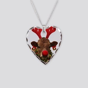 Christmas Cow Necklace Heart Charm